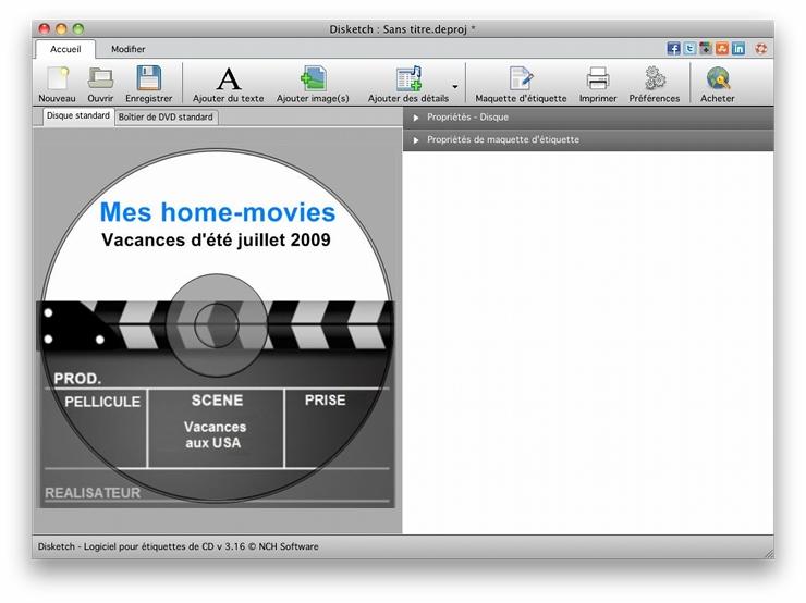 Capture d'écran Disketch – Logiciel d'étiquettes de CD pour Mac