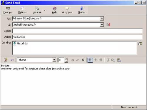 Capture d'écran Send Email