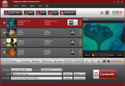Capture d'écran 4Videosoft MPEG Convertisseur
