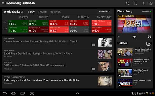 Capture d'écran Bloomberg Business for Tablet