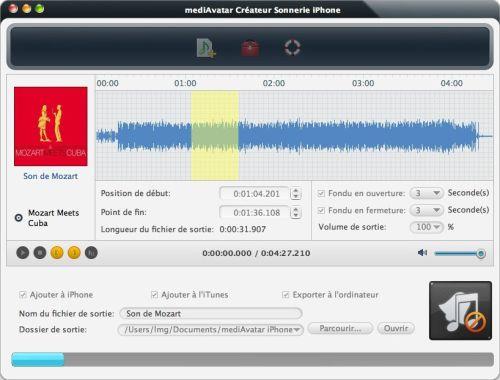 Capture d'écran mediAvatar Créateur de Sonnerie iPhone pour Mac