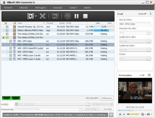 Capture d'écran Xilisoft DPG Convertisseur