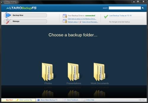Capture d'écran Altaro Backup FS