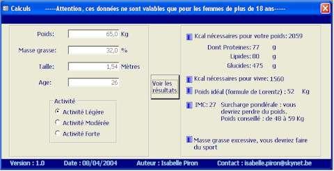 Capture d'écran IMC et calories