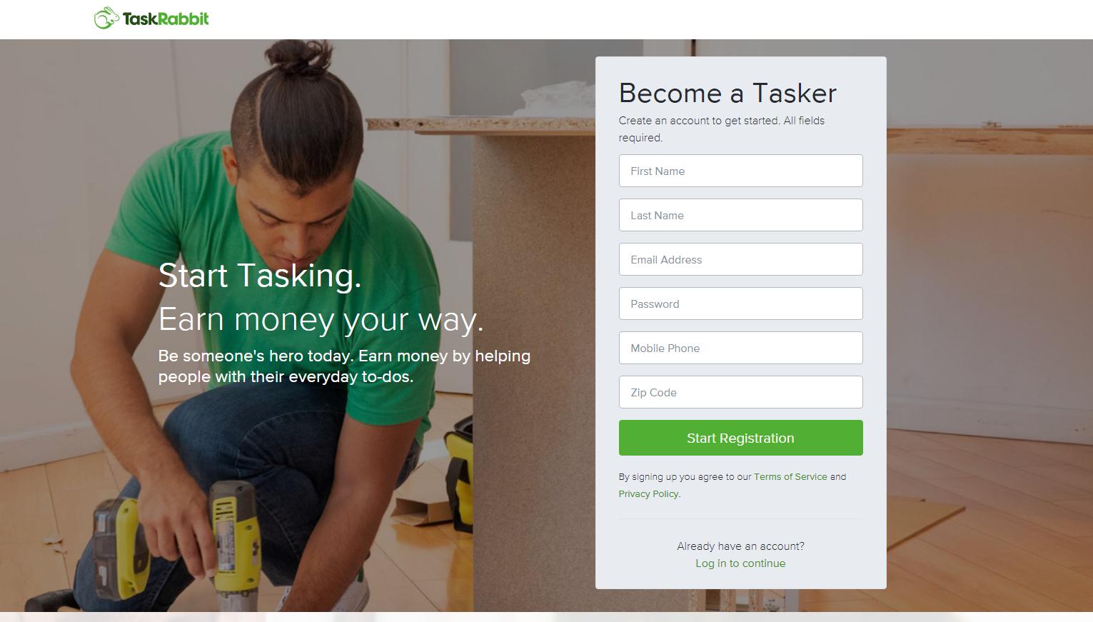 Capture d'écran TaskRabbit