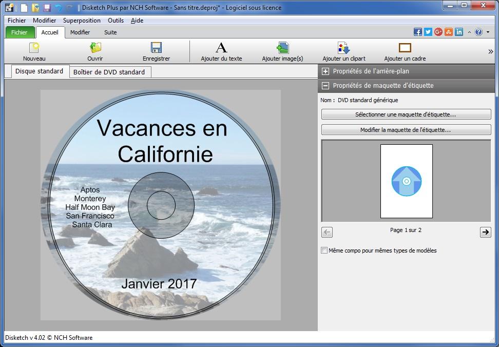 Capture d'écran Disketch – Logiciel gratuit d'étiquettes de CD