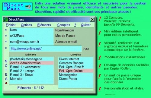 Capture d'écran DirectPass