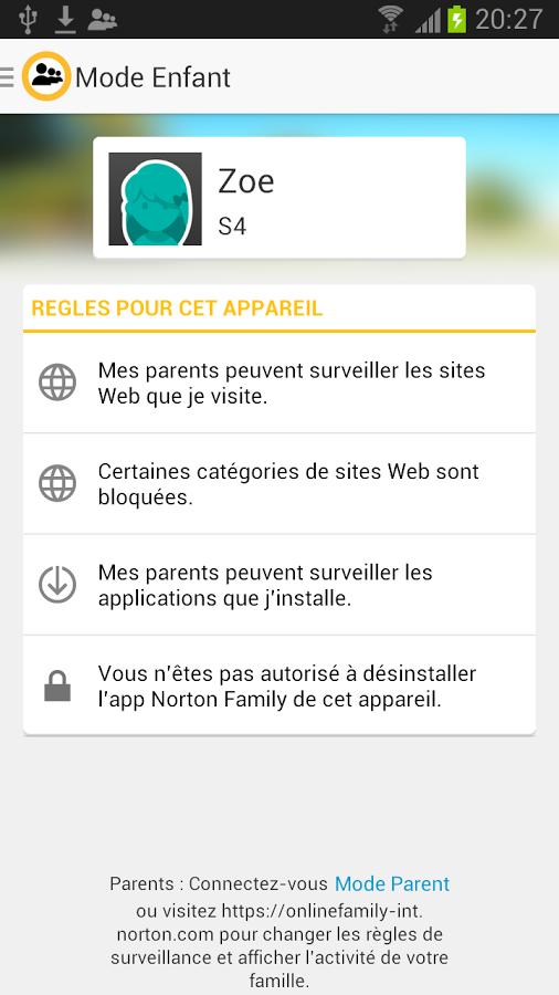 Capture d'écran Norton Family Parental Control Android