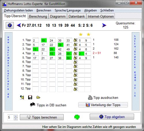 Capture d'écran Hoffmanns Lotto-Experte EuroMillion