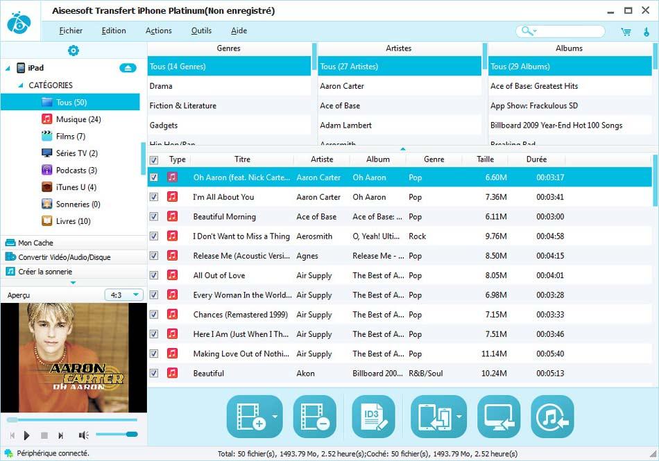 Capture d'écran Aiseesoft Transfert iPhone Platinum