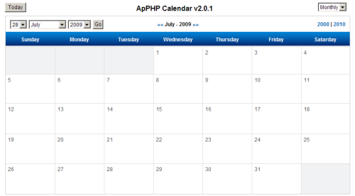 Capture d'écran ApPHP Calendar – PHP Calendar Script