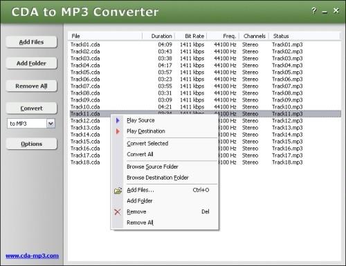 Capture d'écran CDA to MP3 Converter