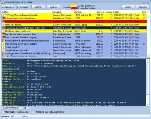 Capture d'écran GSA JobFinder