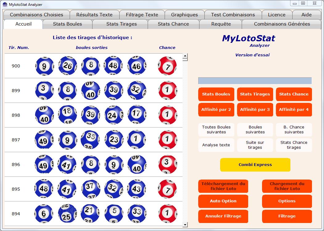 Capture d'écran MyLotoStat Analyzer
