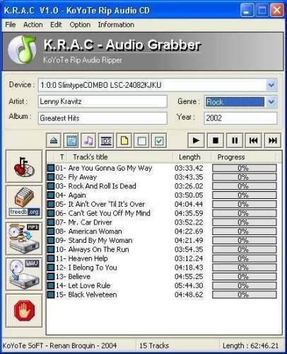 Capture d'écran Free CD Ripper – KRAC