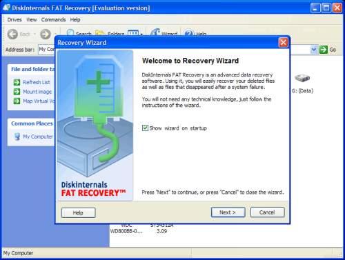 Capture d'écran DiskInternals FAT Recovery