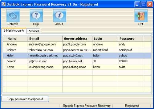 Capture d'écran Outlook Express Password Recovery
