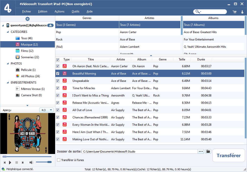 Capture d'écran 4Videosoft Transfert iPad-PC