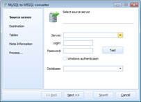 Capture d'écran DB Elephant MySQL to MSSQL Converter