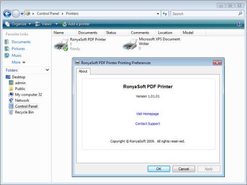 Capture d'écran RonyaSoft PDF Printer
