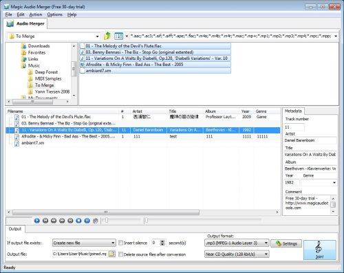 Capture d'écran Magic Audio Merger