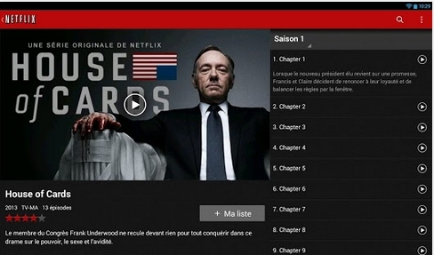 Capture d'écran Netflix Android