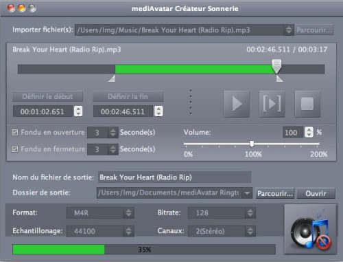 Capture d'écran mediAvatar Créateur de Sonnerie pour Mac