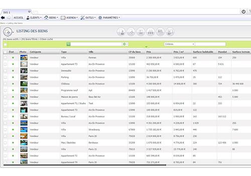 Capture d'écran IWS Immobilier Web System