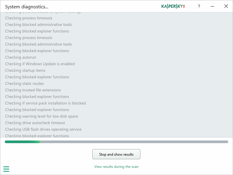 Capture d'écran Kaspersky System Checker