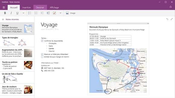 Capture d'écran Microsoft OneNote