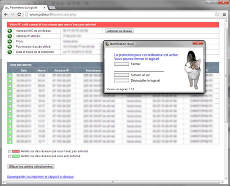 Capture d'écran Antivol Pisteur
