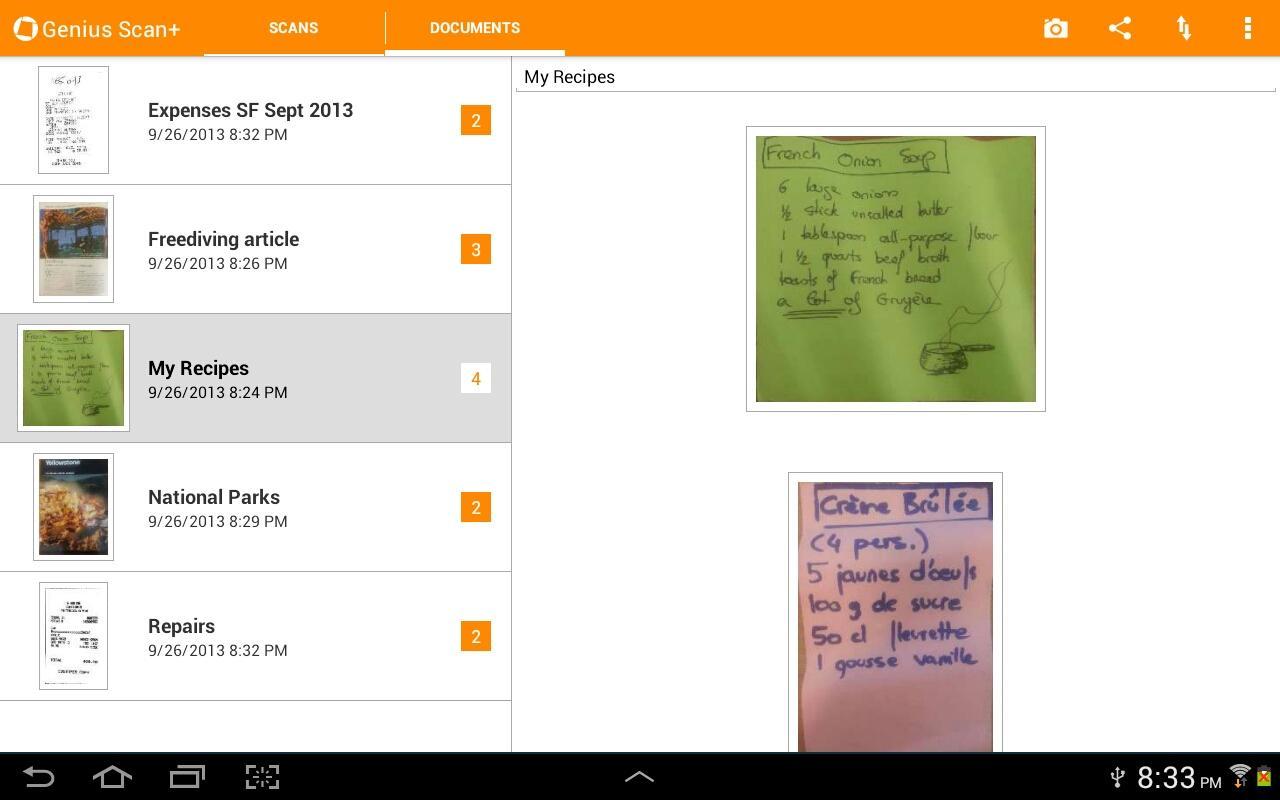 Capture d'écran Genius Scan Android