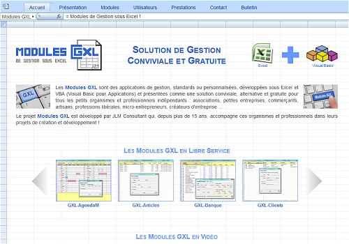 Capture d'écran Modules GXL