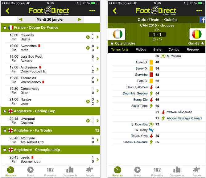 Capture d'écran Foot en direct iOS