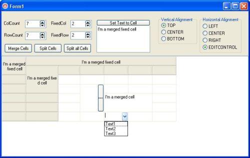 Capture d'écran TMStringGrid component for Delphi