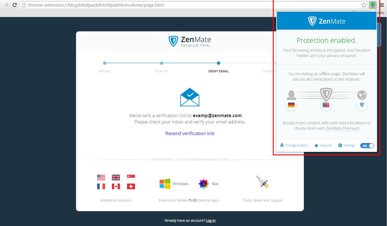 Capture d'écran Zenmate VPN