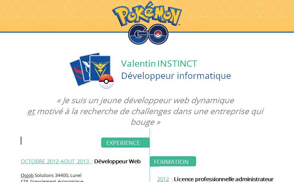 Capture d'écran Modèle CV Pokemon Go Word