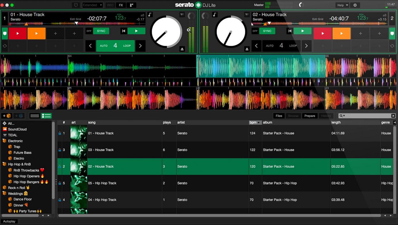 Capture d'écran Serato DJ Lite