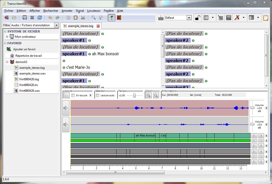 Capture d'écran Transcriber AG