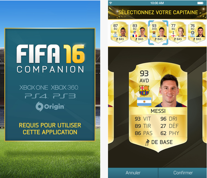 Capture d'écran FIFA companion 2016 iOS