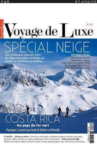 Capture d'écran Voyage de Luxe Magazine