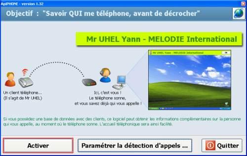 Capture d'écran ApiPHONE