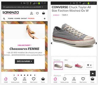 Capture d'écran Sarenza.com Android