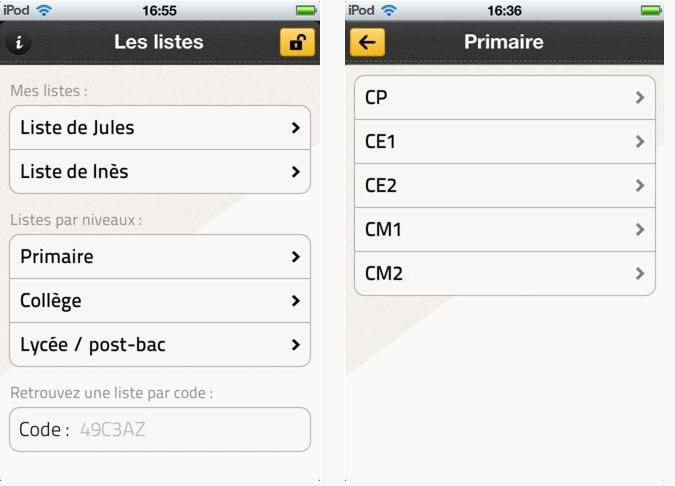 Capture d'écran Ma liste de rentrée iOS