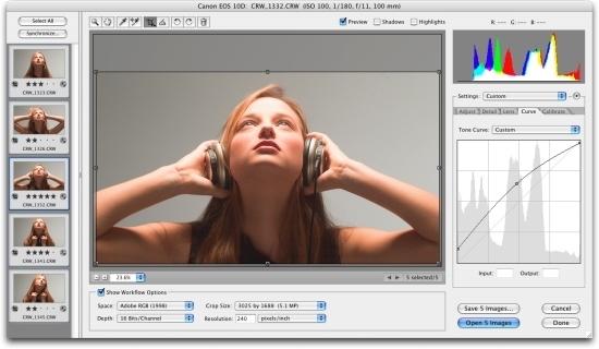 Capture d'écran Adobe Camera RAw