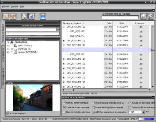 Capture d'écran Gestionnaire de doublons