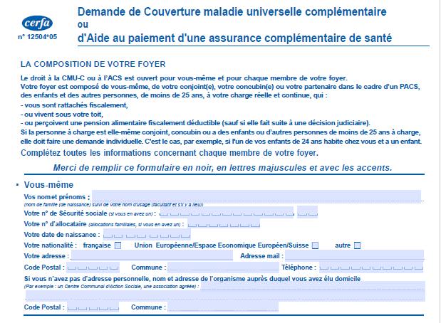 Capture d'écran Formulaire de demande de couverture de maladie universelle complémentaire
