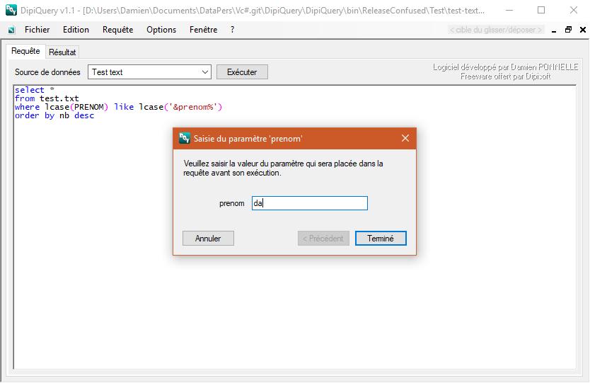 Capture d'écran DipiQuery v1.1