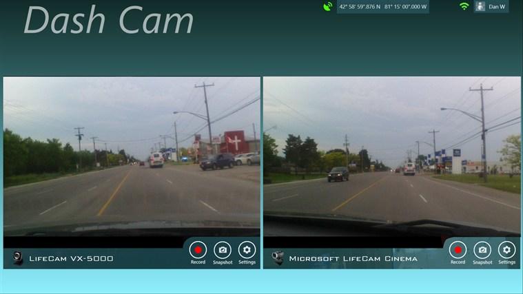 Capture d'écran Dash Cam Windows Phone