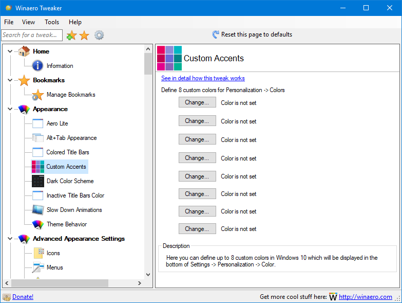 Capture d'écran WinAero Tweaker